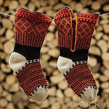 Obuv - ČIČMANSKE KOPITCIA | Pánske ponožky z ovčej vlny (červeno-žlté) - 9104055_