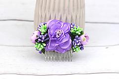 Ozdoby do vlasov - Hrebienok fialovo-zelený ruža - 9102982_