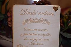 Darčeky pre svadobčanov - Poďakovanie rodičom drevená tabuľka 6 - 9102609_