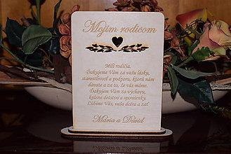 Darčeky pre svadobčanov - Poďakovanie rodičom drevená tabuľka 5 - 9102601_