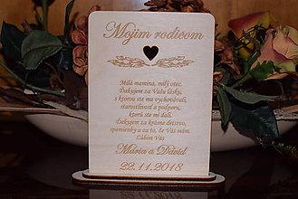 Darčeky pre svadobčanov - Poďakovanie rodičom drevená tabuľka 7 - 9102618_