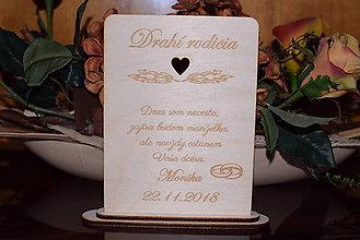 Darčeky pre svadobčanov - Poďakovanie rodičom drevená tabuľka 8 - 9102623_