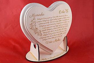 Darčeky pre svadobčanov - Poďakovanie rodičom drevené srdiečko   14 - 9103330_