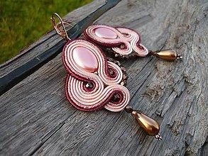 Náušnice - Soutache náušnice Sweet Rose Bronz Pearl - 9111199_