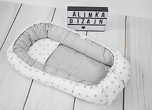 Textil - Hniezdo pre bábätko bielo-sivé hviezdičkové - 9108711_