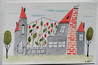 Papiernictvo - Pohľadnica mesto 3 ilustrácia  / originál maľba  - 9107373_