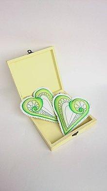 Dekorácie - Srdiečka maľované štetcom a ihlou  (Zelená) - 9108341_