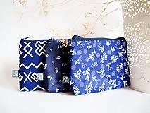 - Kozmetické taštičky malé - modré ľudové (Kozmetická taštička malá-modrotlač-väčšie kvietky) - 9108422_