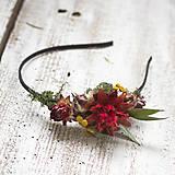 Ozdoby do vlasov - Kvetinová čelenka Dočervena - 9109437_