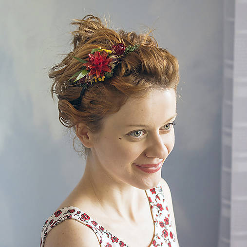 Ozdoby do vlasov - Kvetinová čelenka Dočervena - 9109447_