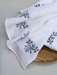 Úžitkový textil - Ľanové biele utierky s ručnou potlačou