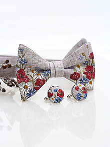 """Doplnky - Pánsky exkluzívny set - ručne maľovaný ľanový motýlik a manžetové gombíky """"Lúčne kvety"""" - 9108772_"""