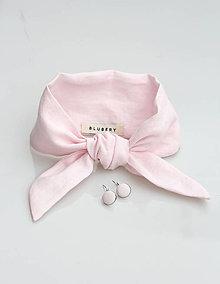 Šatky - Elegantná púdrovo ružová ľanová šatka s náušničkami - 9108863_