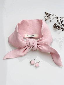 Šatky - Dámska elegantná ľanová šatka pastelovej farby s náušnicami - 9108937_