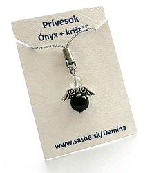 Na mobil - Prívesok - anjelik z minerálov (Ónyx + Krištáľ) - 9108605  cdca7beacbc