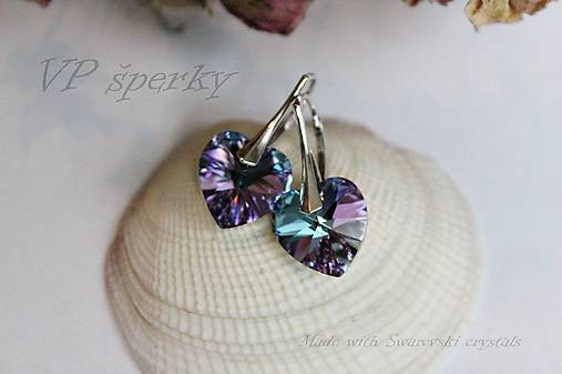 Strieborné náušnice so Swarovski crystals - srdce   VPsperky - SAShE ... 62d9117dd69