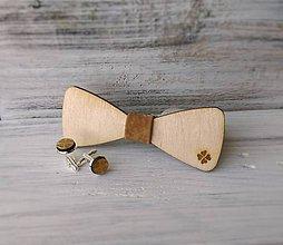 """Doplnky - Sada drevený pánsky motýlik a gombíky -""""Štvorlístok"""" - 9107438_"""