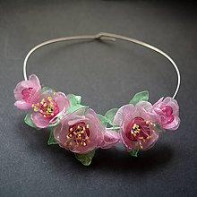 Náhrdelníky - Náhrdelník obruč s ružovými kvetmi - 9111013_