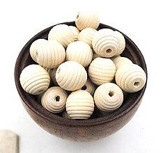 Korálky - Korálka drevená ryhovaná natur - 9109718_