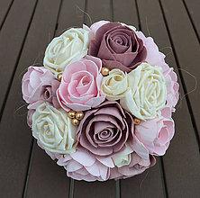 Kytice pre nevestu - Svadobná kytica ružová zlatá - 9109684_