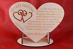 Darčeky pre svadobčanov - Poďakovanie rodičom drevené srdiečko  46 - 9108295_