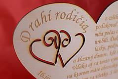 Darčeky pre svadobčanov - Poďakovanie rodičom drevené srdiečko  46 - 9108296_