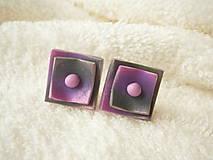 Náušnice - Náušnice z polyméru, dva štvorčeky - 9106814_