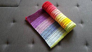 Textil - Pestrá dúhová pásikavá deka - 9110625_
