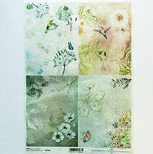 Papier - Ryžový papier na decoupage - A4-R1059 - rajská záhrada - 9111878_