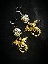 - Set náušnice + náramok Zlatý drak - na objednávku - 9115292_