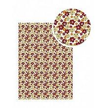 Textil - Samolepiaca látka Biela s bordovými kvetmi - 9113792_