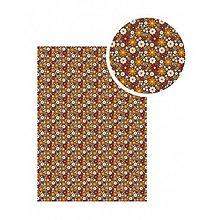 Textil - Samolepiaca látka Čokoládová s kvetmi - 9113798_
