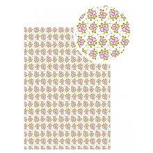 Textil - Samolepiaca látka Biela s ružovými kvetmi - 9113807_