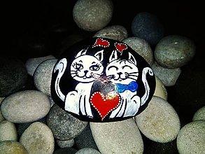 Dekorácie - Zamilované cicušky .-) dekoračný kameň - 9114294_
