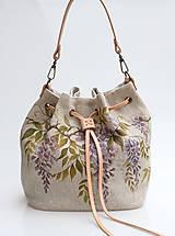 Kabelky - Dámska ľanová kabelka s ručnou maľbou