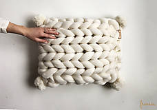Úžitkový textil - Merino vankúš POM POM (10) - 9112251_