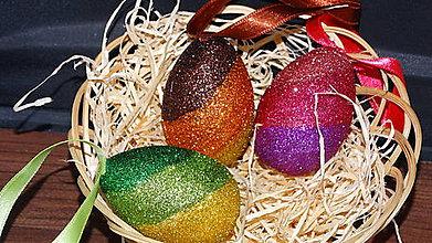 Dekorácie - Veľkonočné vajíčka trblietkavé - 9112494_