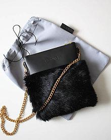 Kabelky - Koženo- kožušinová kabelka CROSSBODY malá- ČIERNA - 9113711_