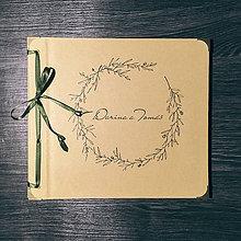 Papiernictvo - Fotoalbum klasický, papierový obal so štruktúrou plátna a ľubovoľnou potlačou (momentálne nedostupné)  (Fotoalbum klasický, papierový obal so štruktúrou plátna a potlačou jemného čierneho venčeka) - 9113425_