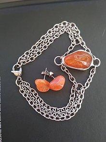 Sady šperkov - Karneolový náramok s náušnicami . - 9113272_