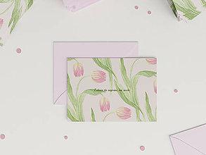 Papiernictvo - Láskavý pozdrav Ľubim ťa | botanická ilustrácia Tulipán - 9115512_