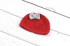 Detské čiapky - Červeno-šedá čiapka zimná EXTRA FINE - 9112203_