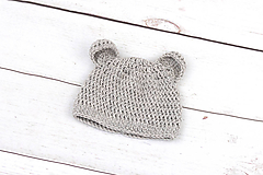Detské čiapky - Béžová čiapka macko zimná EXTRA FINE - 9112263_