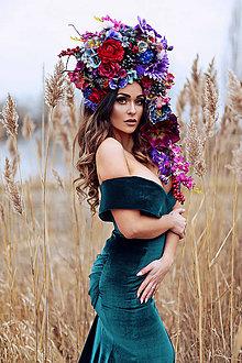 Ozdoby do vlasov - Veľká vínovo-fialová koruna z kvetin - 9114373_