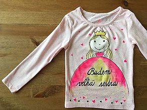 """Detské oblečenie - Maľované tričko s princeznou a nápisom """"Budem veľká sestra"""" - 9112754_"""
