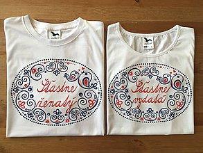 """Tričká - Maľované tričká s ľudovým motívom a nápismi """"šťastne vydatá"""" a """"šťastne ženatý"""" - 9112866_"""