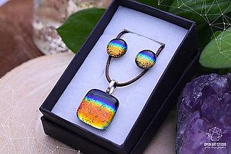 Sady šperkov - Dúhová sada sklenených šperkov II. - 9112451_
