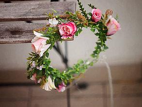 Ozdoby do vlasov - květinkový věneček s poupátky růží - 9111544_