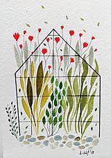 - Pohľadnica skleník ilustrácia  / originál maľba  - 9116179_