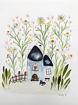 Obrazy - Kamilkový háj ilustrácia  / originál maľba  - 9116501_